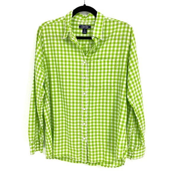 Lands' End Gingham Green White Button Blouse Shirt